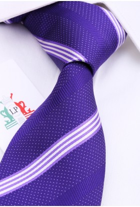 La Pescara Lila Beyaz Çizgili Klasik Kravat Çk3023