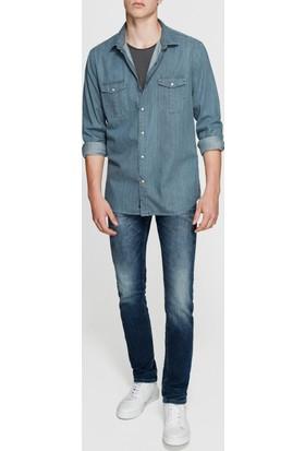 Mavi Uzun Kollu Gri Gömlek