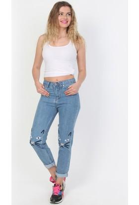 E-Giyimsepeti Mavi Kedi Mom Kot Pantolon