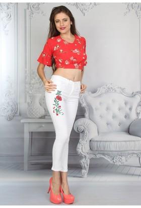 E-Giyimsepeti Çiçek Beyaz Bayan Kot Pantolon
