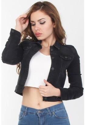 E-Giyimsepeti Siyah Bayan Kot Ceket Cd2156