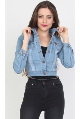 E-Giyimsepeti Açık Mavi Kadın Kot Ceket Cd0203