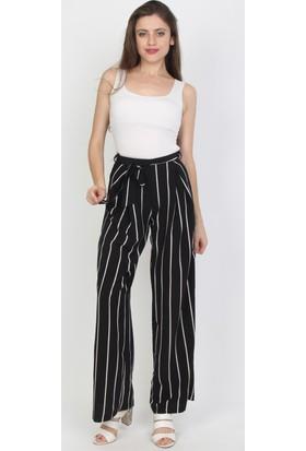 E-Giyimsepeti Bol Paça Siyah Beyaz Pantolon