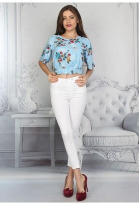 E-Giyimsepeti Yüksek Bel Dar Paça Beyaz Bayan Kot Pantolon