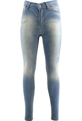 E-Giyimsepeti Açık Mavi Yüksek Bel Bayan Kot Pantolon