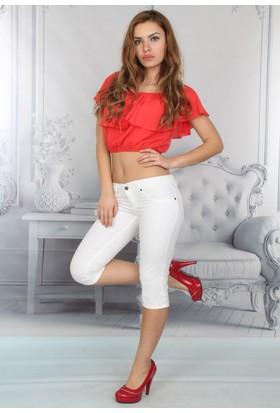 E-Giyimsepeti Beyaz Bayan Kapri Kot Pantolon