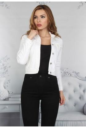 E-Giyimsepeti Yeni Model Beyaz Bayan Kot Ceket