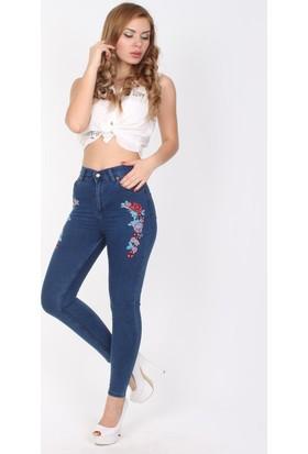 E-Giyimsepeti Çiçek Motifli Yüksek Bel Ve Dar Paça Bayan Kot Pantolon