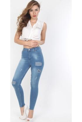 E-Giyimsepeti Yamalı Blue Yüksek Bel Bayan Pantolon