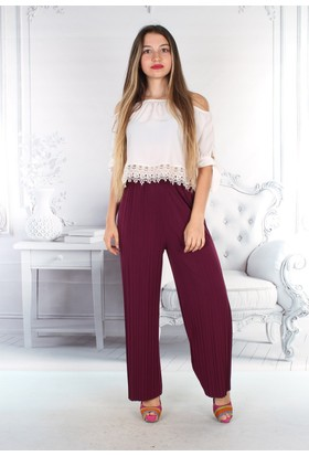 E-Giyimsepeti Yazlık Tiril Tiril Geniş Pantolon Mürdüm