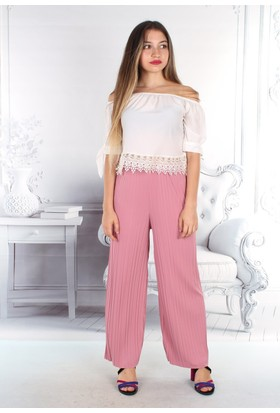 E-Giyimsepeti Yazlık Tiril Tiril Geniş Pantolon Pembe