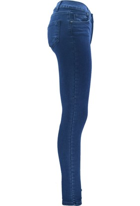 E-Giyimsepeti Mavi Likrali Ve Yüksek Bel Bayan Kot Pantolon