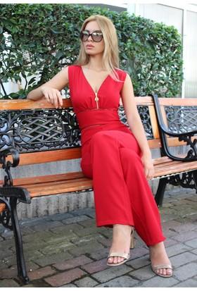 E-Giyimsepeti Fermuar Detaylı Yeni Model Tulum Kırmızı