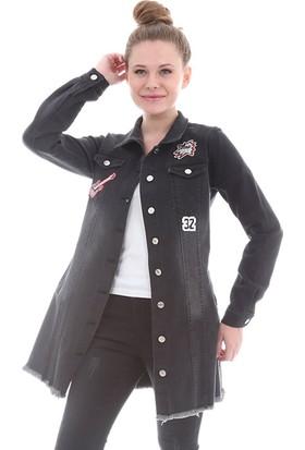 E-Giyimsepeti Gitar Siyah Kot Tunik Ceket