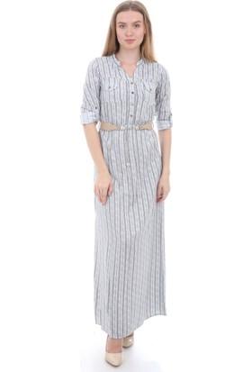 E-Giyimsepeti Siyah Beyaz Gri Elbise