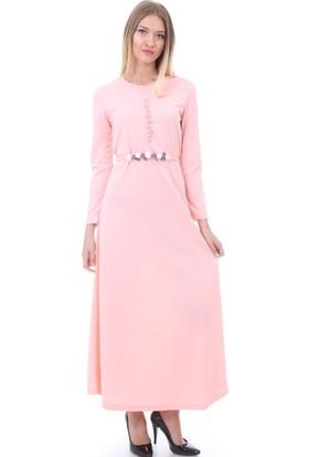 E-Giyimsepeti Kemeri Gül Dataylı Pudra Elbise