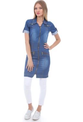 E-Giyimsepeti Gömlek Yaka Fermuarlı Kot Elbise