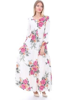 E-Giyimsepeti Belden Lastikli Çiçek Ekru Elbise