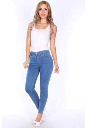 E-Giyimsepeti Yüksek Bel Mavi Style Bayan Kot Pantolon
