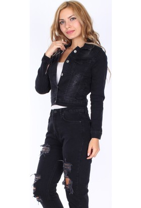 E-Giyimsepeti Tırnaklı Style Siyah Bayan Kot Ceket