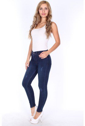 E-Giyimsepeti Koyu Mavi Tırnak Style Bayan Kot Pantolon