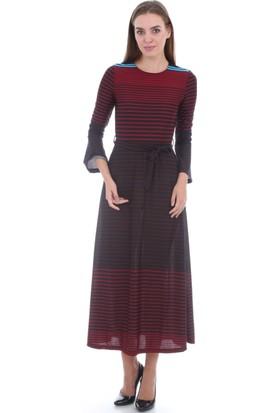 E-Giyimsepeti Bayan Bordo Elbise Modeli