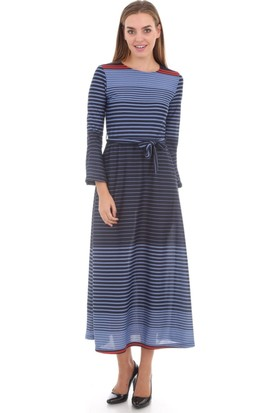 E-Giyimsepeti Bayan Lacivert Elbise Modeli