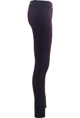 E-Giyimsepeti Şeritli Siyah Bordo Kaşe Tayt