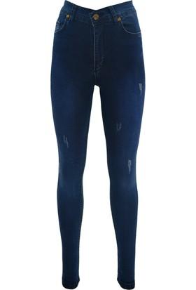 E-Giyimsepeti Yüksek Bel Lacivert Kadın Kot Pantolon