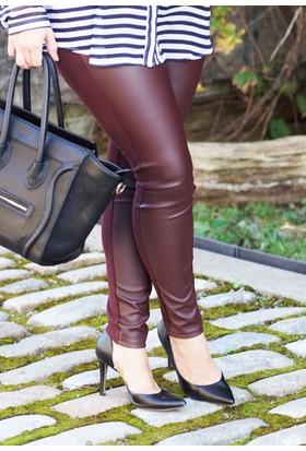 E-Giyimsepeti Bordo Deri Bayan Tayt