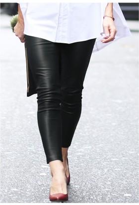 E-Giyimsepeti Siyah Deri Bayan Tayt