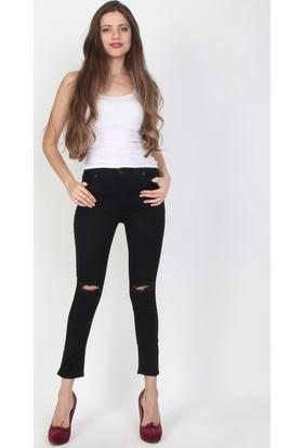 E-Giyimsepeti Dizi Siyah Yüksek Bel Bayan Kot Pantolon