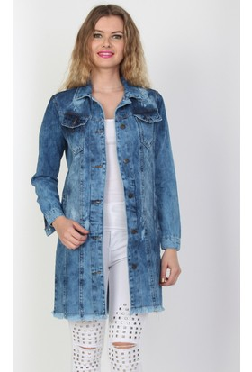 E-Giyimsepeti lı Bayan Kot Tunik Ceket