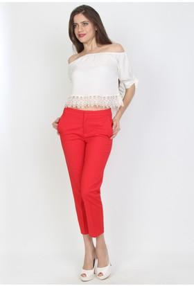 E-Giyimsepeti Kırmızı Bilek Boy Kumaş Pantolon