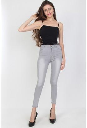 E-Giyimsepeti Yüksek Bel Taşlanmış Gri Ton Bayan Kot Pantolon