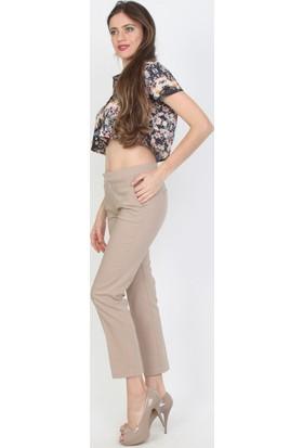 E-Giyimsepeti Taş Rengi Bilek Boy Kumaş Pantolon