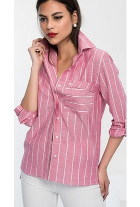 E-Giyimsepeti Bayan Pembe Cepli Gömlek Em03