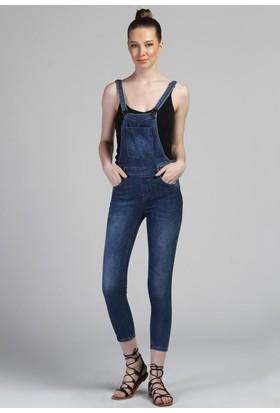 E-Giyimsepeti Cep Detaylı Mavi Salopet Tulum