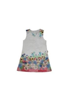 Lilax Çiçekli Kız Çocuk Jile Elbise - Pembe