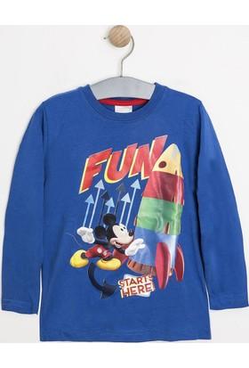 Soobe Disney Mickey Uzun Kol Erkek Çocuk T-Shirt Açık Saks