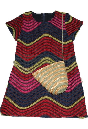 Lilax Gökkuşağı Desenli Çantalı Kız Çocuk Elbise