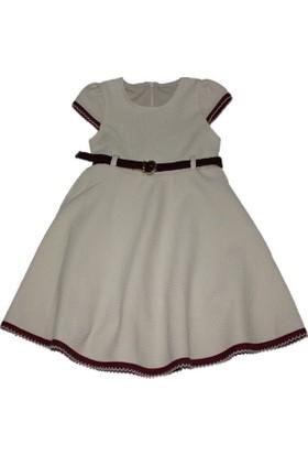 Lilax Bordo Kemerli Kız Çocuk Elbise