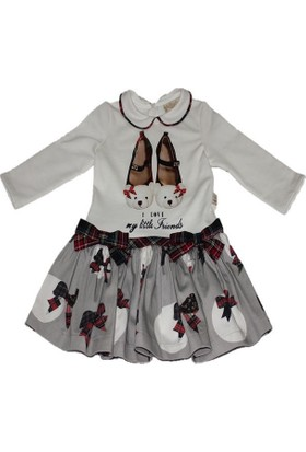 Lilax Bebe Yaka Fiyonklu Kız Çocuk Elbise