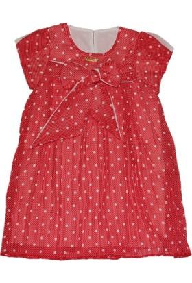 Lilax Puanlı Kız Çocuk Şifon Elbise - Kırmızı