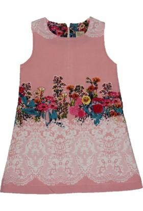 Lilax Su Yolu Desenli Kız Çocuk Jile Elbise - Pembe