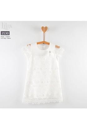Lilax Brodeli Kız Çocuk Elbise
