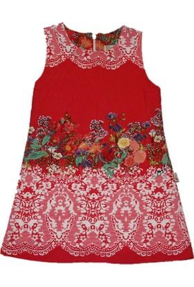 Lilax Su Yolu Desenli Kız Çocuk Jile Elbise - Narçiçeği