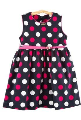 Lilax Puanlı Kız Çocuk Elbise