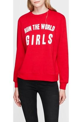 Mavi Baskılı Kırmızı Sweatshirt