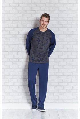 RolyPoly Uzun Kollu Erkek Pijama Takımı Antrasit